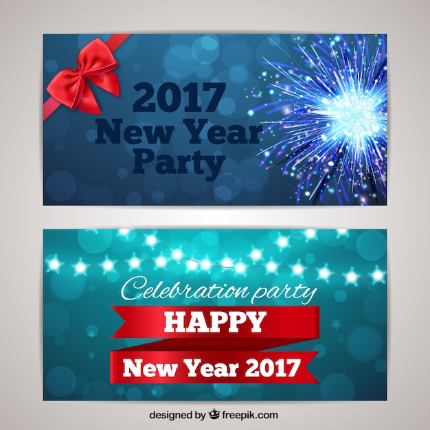 2017 new year banners with stars and fireworks free vector