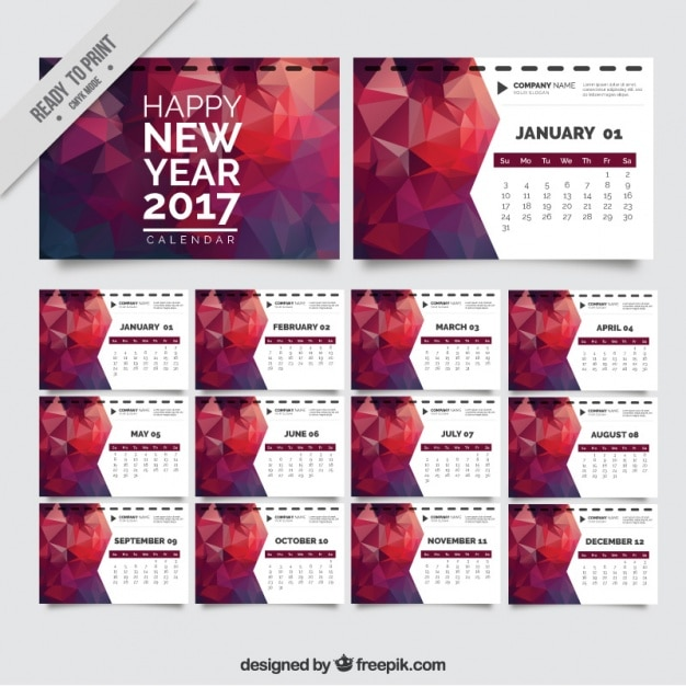 New Year Calendar Template In Polygonal Style Vector  Free