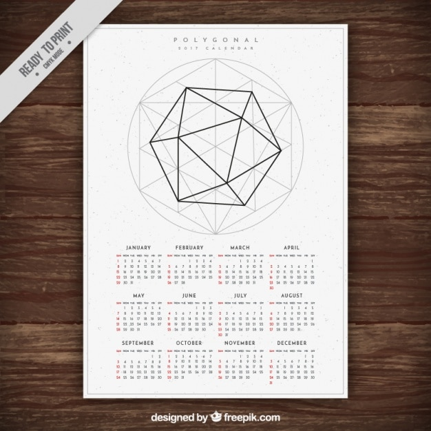 2017 New Year Calendar Template With Geometric Shape Vector Free