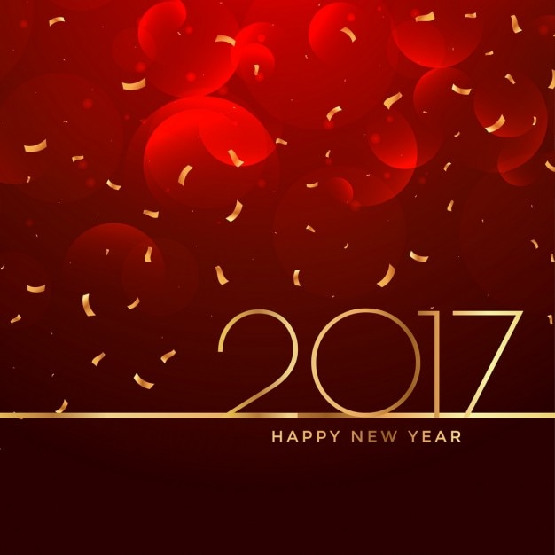 2017 new year celebration background in red color Free Vector