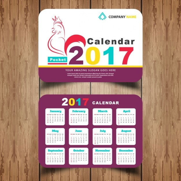 Pocket Calendar Design : Pocket calendar vector free download