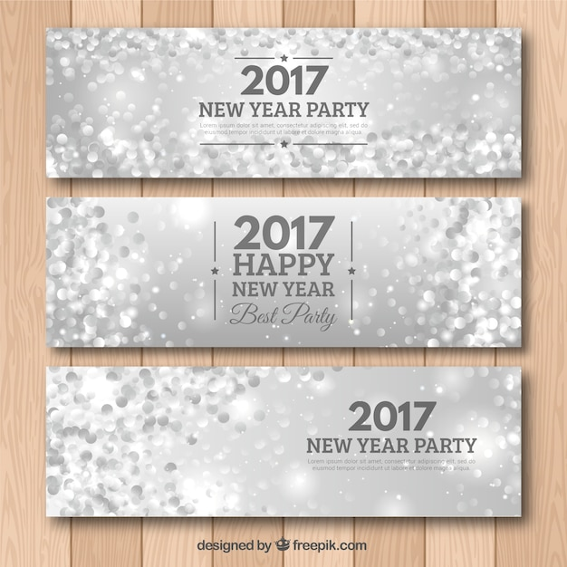 2017 silver bright banners Free Vector
