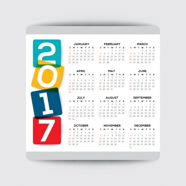 2017 simple calendar Free Vector