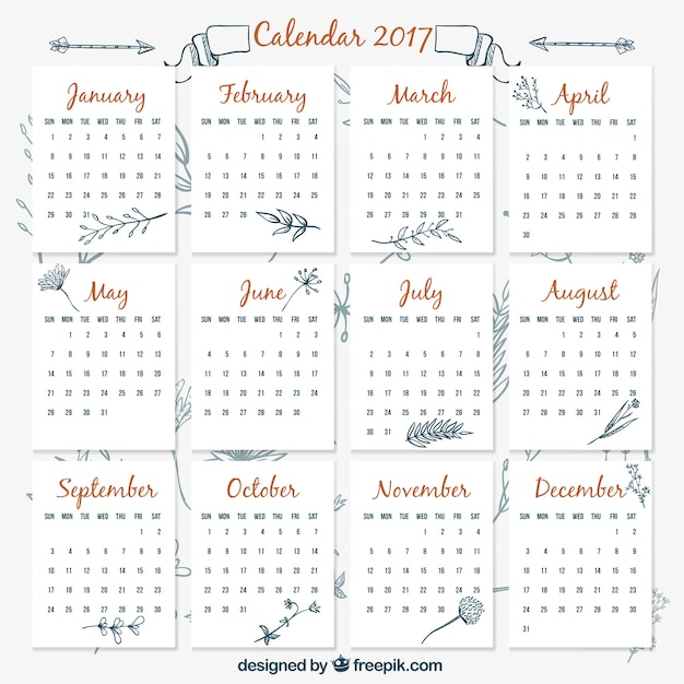 Calendar Vintage Vector : Vintage calendar template with hand drawn plants