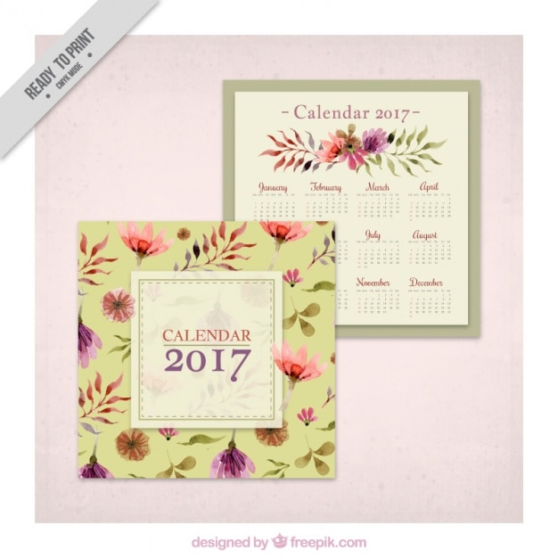 2017 vintage calendar with watercolor flowers Free Vector