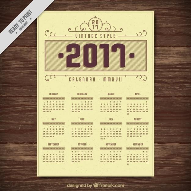 Vintage Calendar 2017 Printable : Vintage style calendar vector free download
