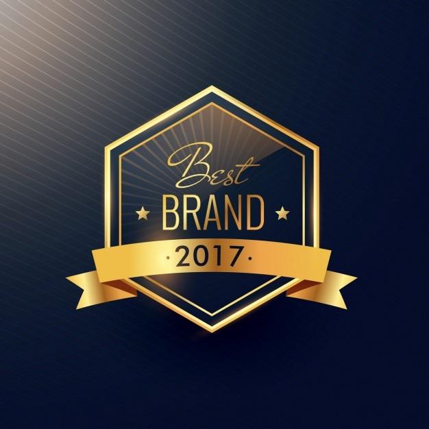 Лучший бренд 2017 года золотой дизайн этикетки Бесплатные векторы