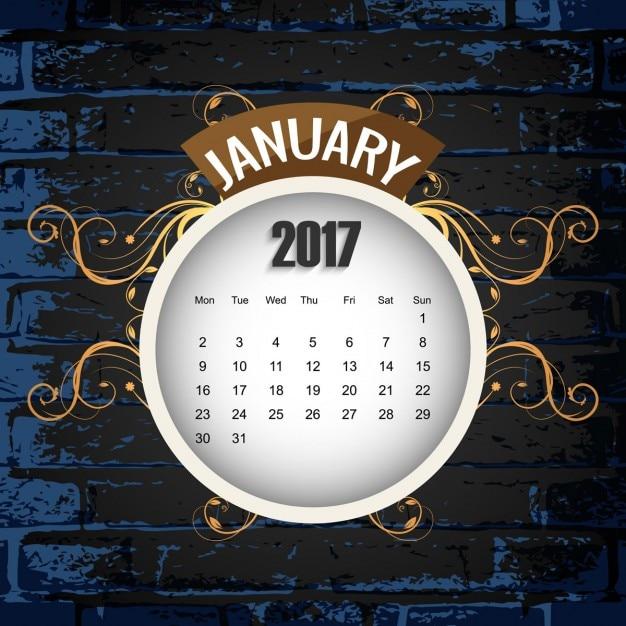 美しい2017年カレンダーの背景 無料ベクター