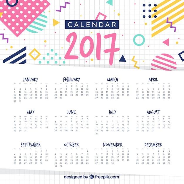 メンフィススタイルで2017年カレンダーテンプレート Premiumベクター