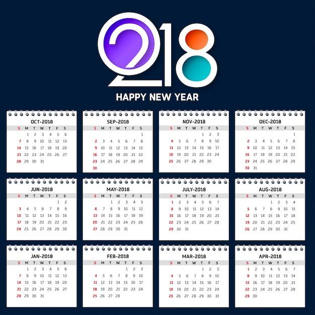 2018年のシンプルなカレンダー週は日曜日から始まります。創造的なカラフルな2018タイポグラフィの青い背景 無料ベクター