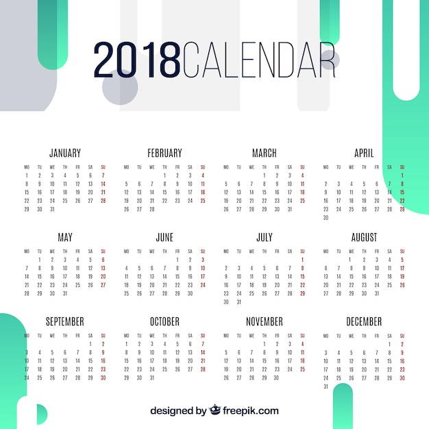 2018 abstract calendar Free Vector