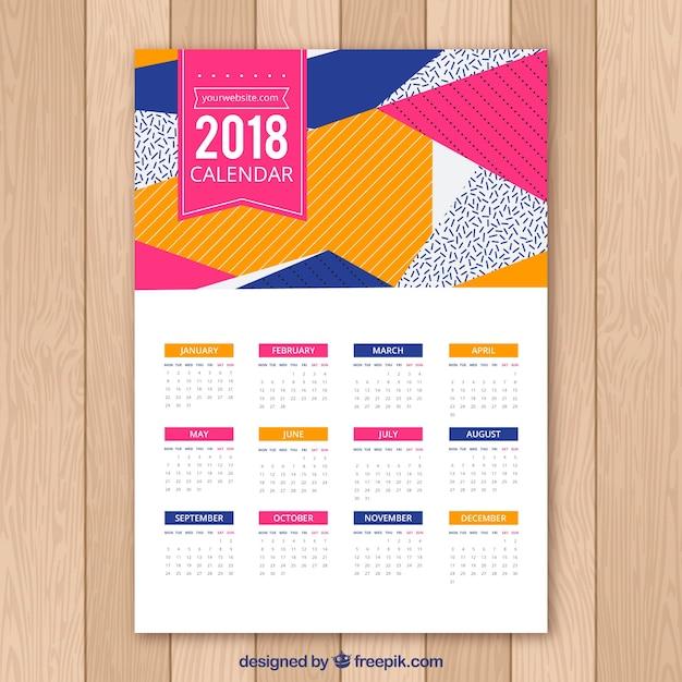 2018 abstract calendar Free Vector