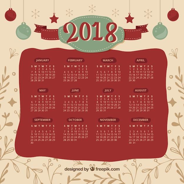 2018 calendar christmas in retro style free vector