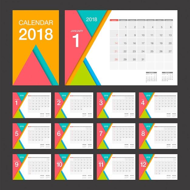 2018 calendar desk calendar modern design template vector premium download. Black Bedroom Furniture Sets. Home Design Ideas