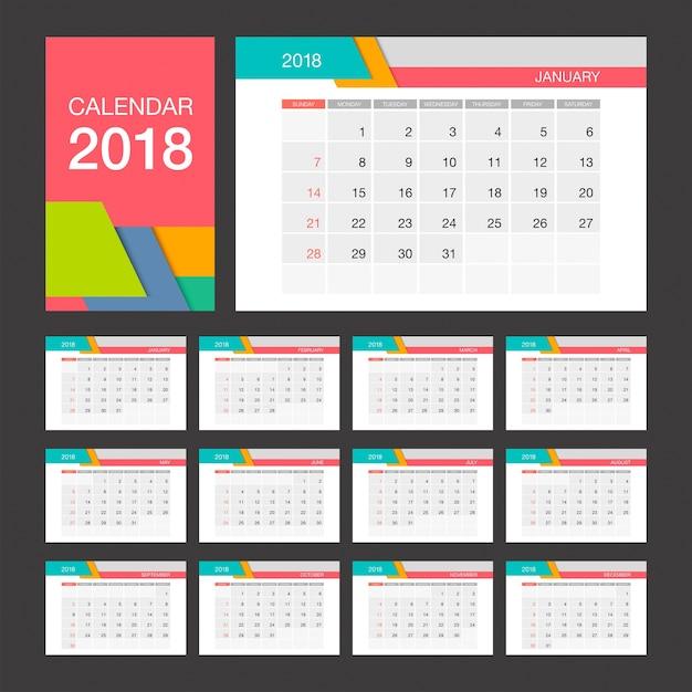 2018 calendar desk calendar modern design template premium vector
