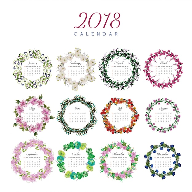 Calendar Design Free Vector : Calendar floral design vector free download