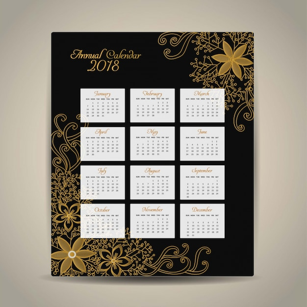 2018 calendar golden design Free Vector