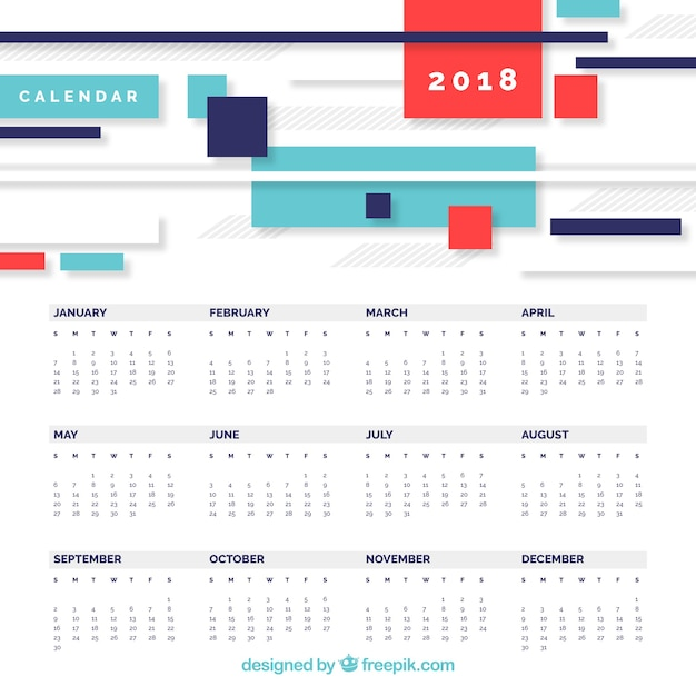 2018 Calendar In Modern Style Vector Free Download