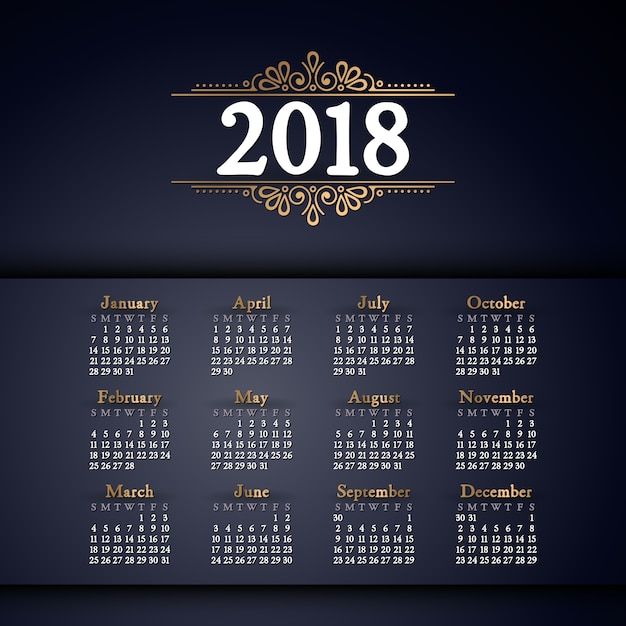 2018 calendar. It can be used for WEB or Print. Free Vector