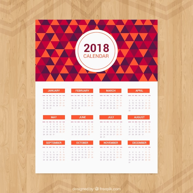 2018 Calendar Of Triangles Vector Free Download
