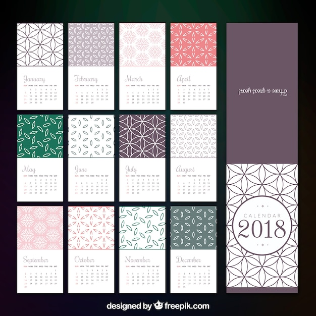 Calendar Design Templates Free Download : Calendar template in flat design vector free download