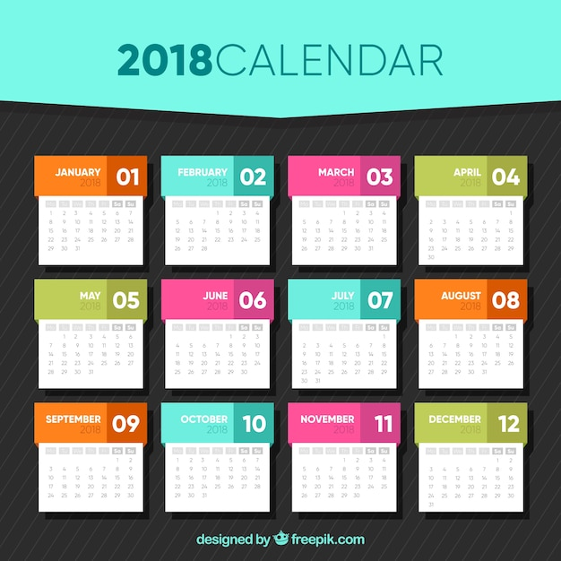 2018 Calendar Template In Flat Design Free Vector