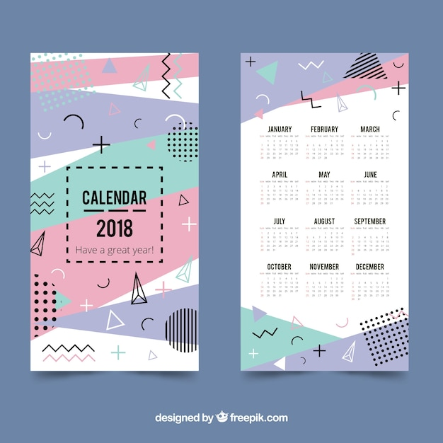 2018 Calendar Template In Memphis Style Vector Free Download