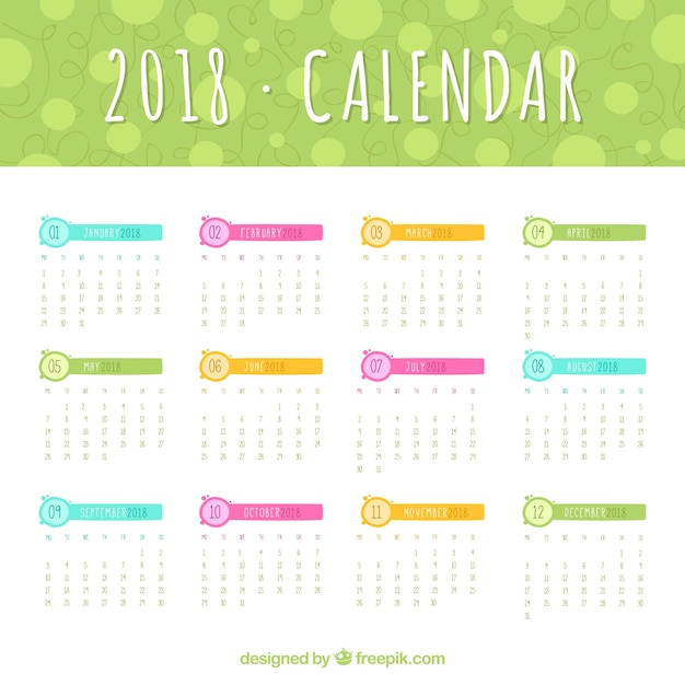 2018 calendar template with colored elements free vector