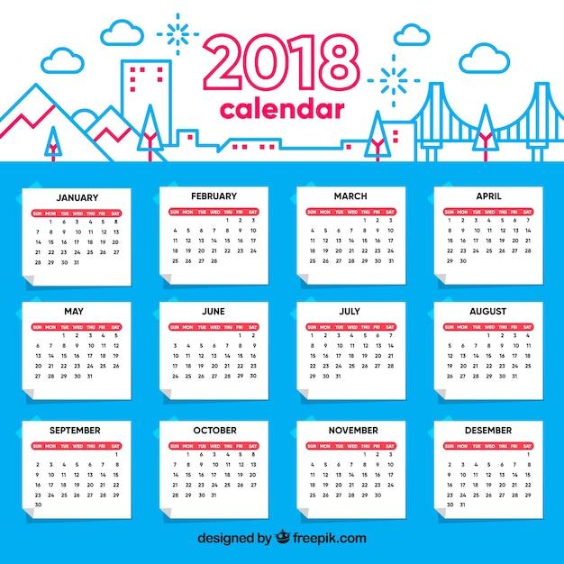 2018 calendar template free