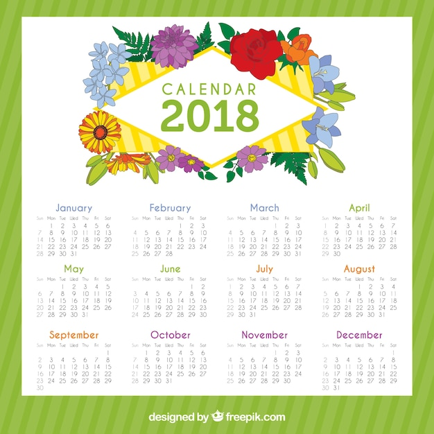 2018 Calendar With Beautiful Flowers Vector Free Download