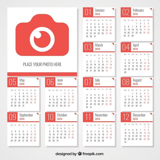 2018 calendar with camera free vector