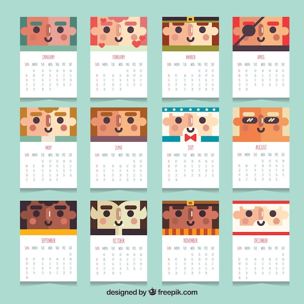 Calendar Design Freepik : Calendar with characters in flat design vector free