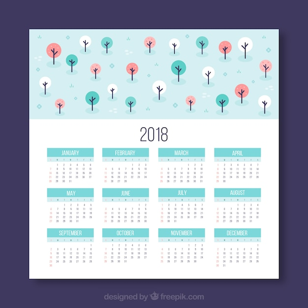 2018 calendar with colorful trees Free Vector