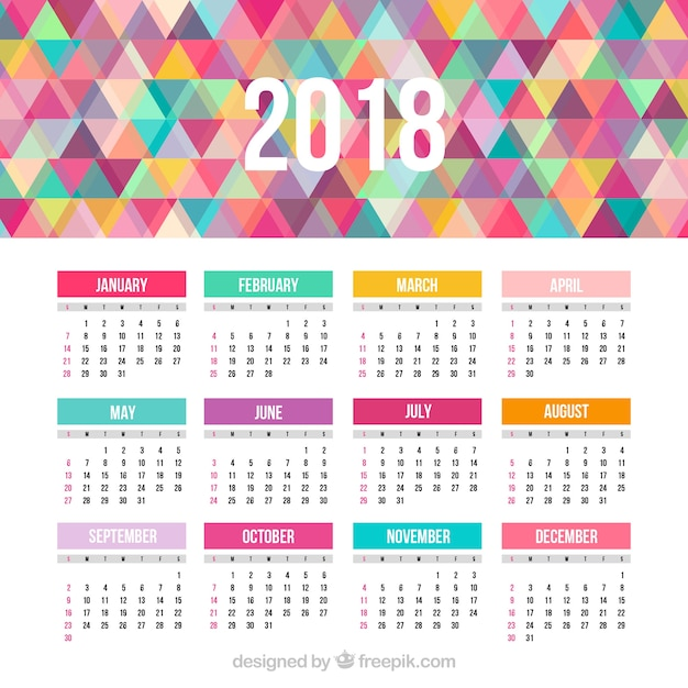 2018 calendar with colorful triangles free vector