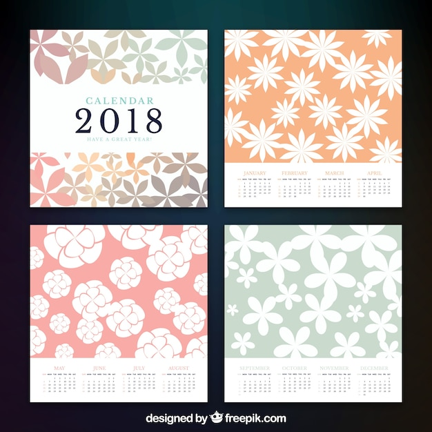 2018 calendar with floral decoration