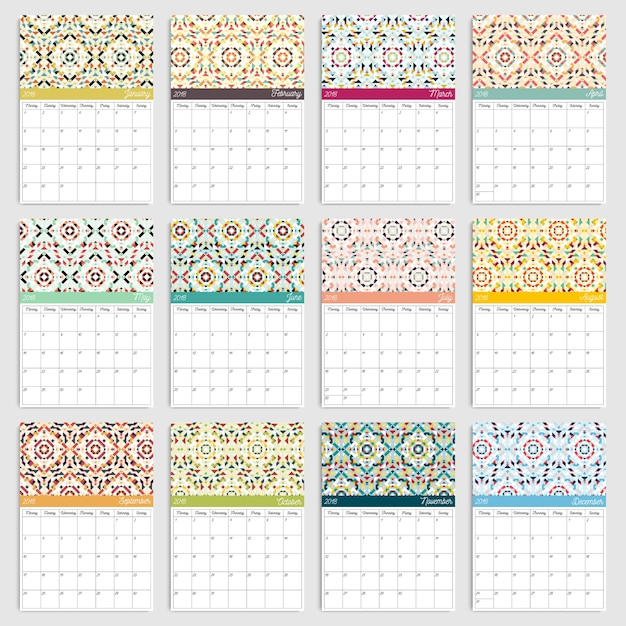 2018 calendar with geometric patterns Premium Vector