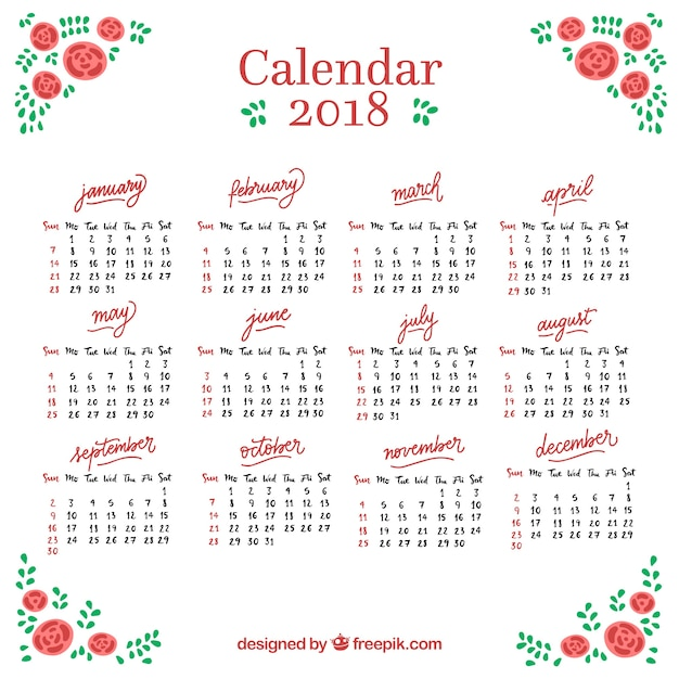 2018 calendar with hand drawn roses