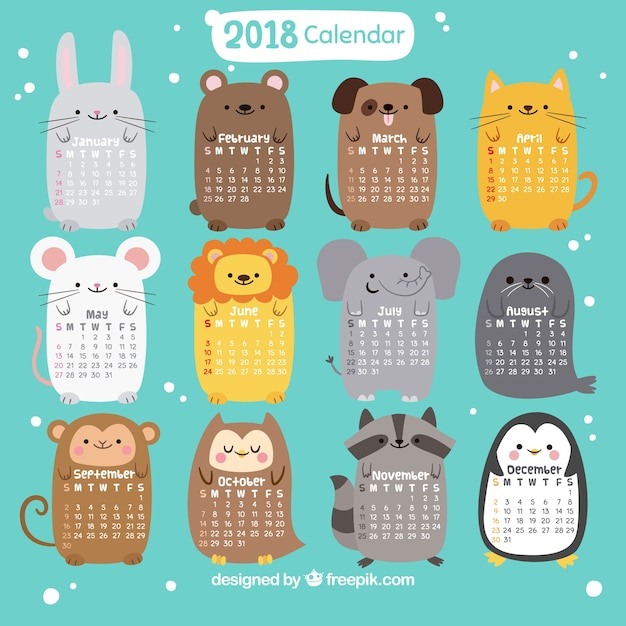 2018 calendar with nice animals Free Vector