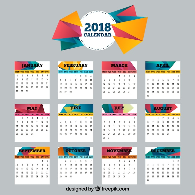 2018 calendar with polygonal shapes Vector | Free Download