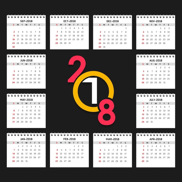 2018 calendar vector free download