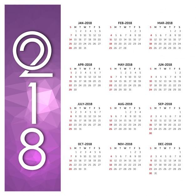2018 calendar vector