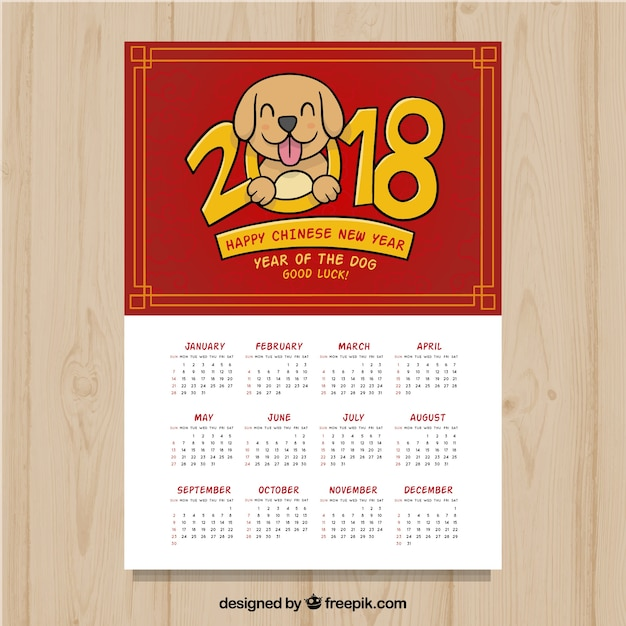2018 chinese new year calendar free vector - Chinese New Year Calendar
