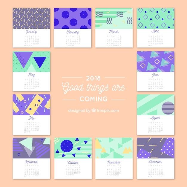 2018 creative calendar with geometric shapes vector free download