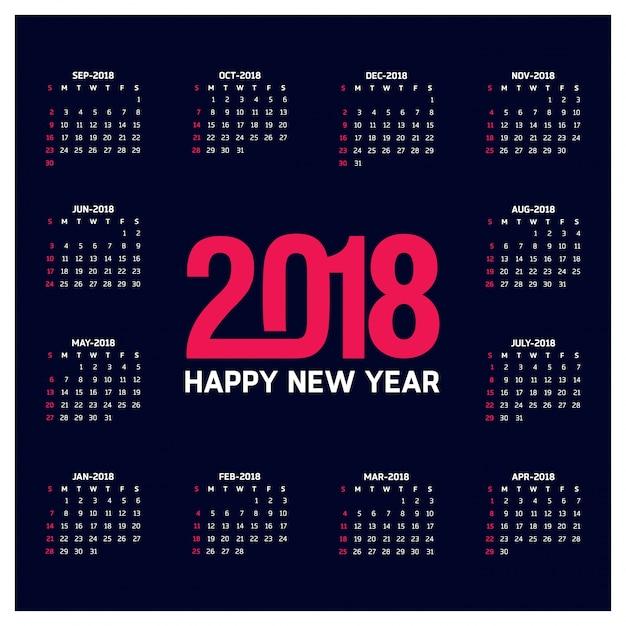 Простой календарь на 2018 год неделя начинается с воскресенья creative red 2018 typography blue background Бесплатные векторы