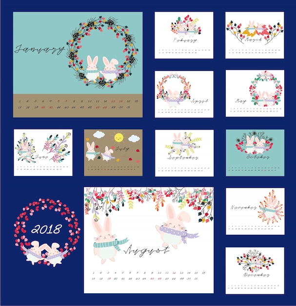 2018 floral and rabbit calendar Premium Vector