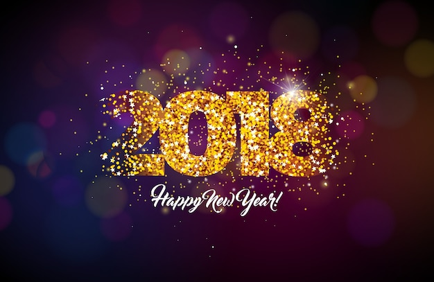 2018 happy new year background illustration with gold glitter typograph number premium vector