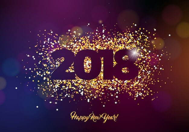 2018 happy new year background illustration with gold glitter premium vector