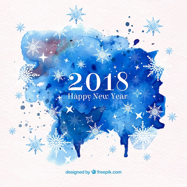 2018 happy new year background in blue watercolour Free Vector