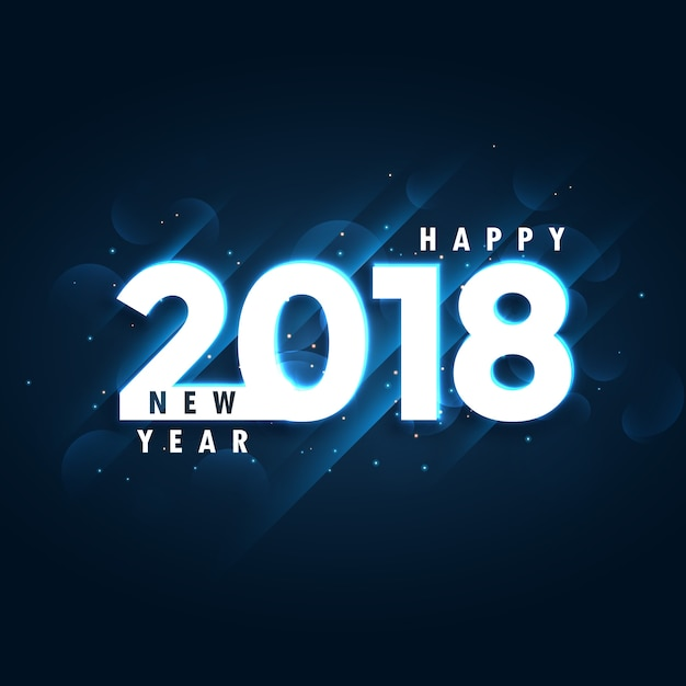 2018 happy new year blue background with glowing effect free vector