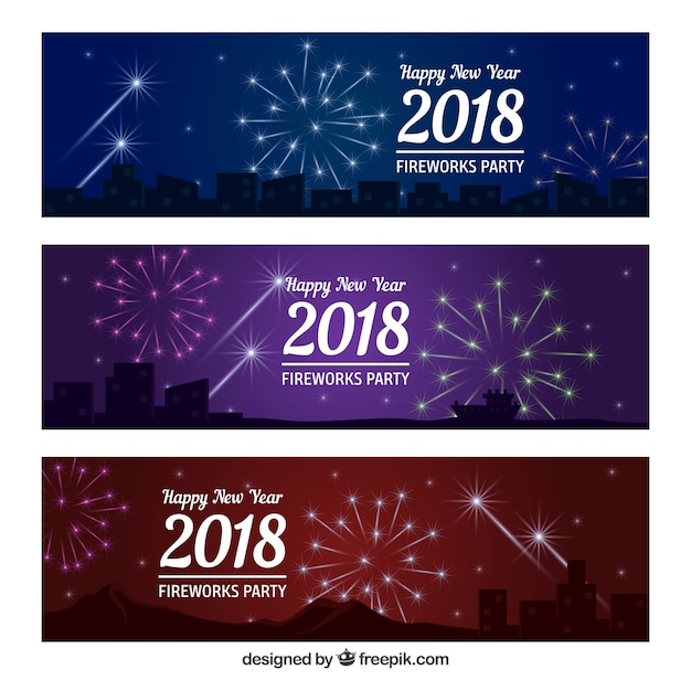 2018 happy year banners with fireworks free vector